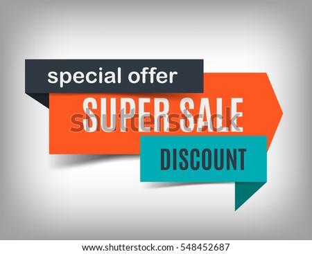 Super sale banner design. Discount poster, special offer. Vector illustration, eps 10