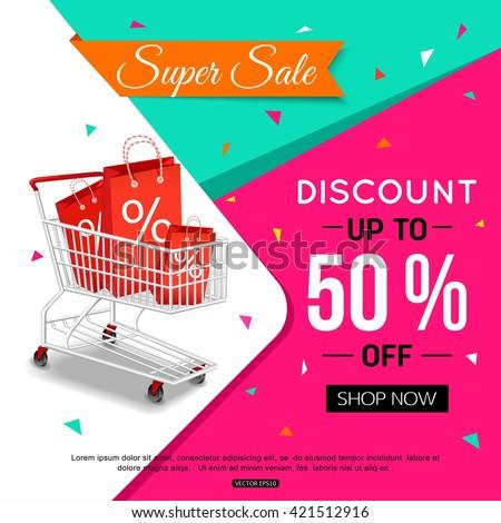 Super Sale Banner Design for shop. Vector illustration.