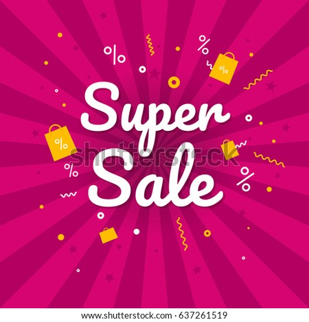 Super sale banner. Discount banner. Vector illustration.