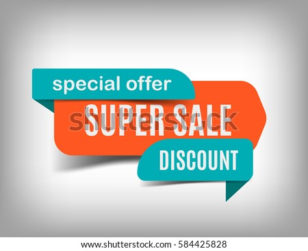 Super sale banner, discount tag, special offer. Website sticker on a gray abstract background, orange web page design. Vector illustration, eps10