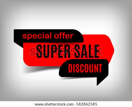 Super sale banner discount tag special offer website sticker red web page