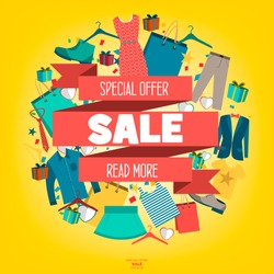 Super Sale clothing and accessories banner. Big sale, clearance. 50% off. Vector illustration.