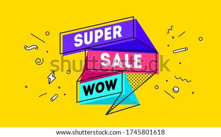 Super Sale. 3d sale banner with text Super Sale for emotion, motivation. Modern 3d colorful web template on black backdrop. Design elements for sale, discount. Vector Illustration