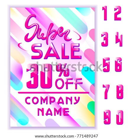 Super Sale flyer consept. Special discount banner with spase for text, memphis style. Diagonal dynamic geometric elements. End of season special offer banner. vector illustration.