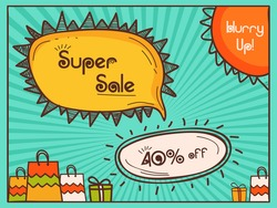 Super Sale Flyer, Sale Banner, Sale Poster, 40% Off, Vector Illustration with colorful bags on rays background.