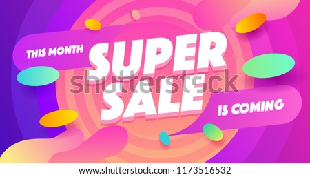 Super sale for web app banner. Discount banner design. Vector illustration fashion newsletter designs, poster design for print or web, media, promotional material - stock vector