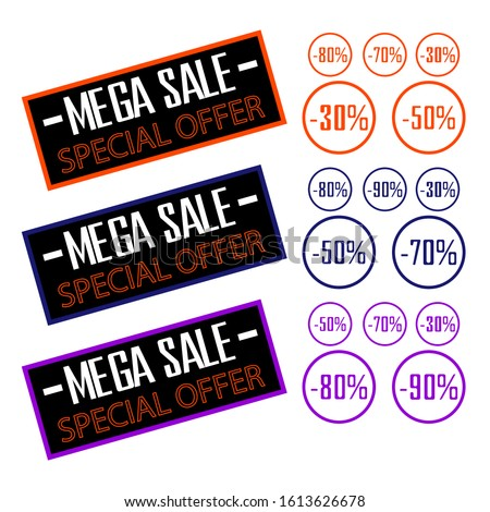 Super sale for web application banner. Discount card, big promotion of discounts in bright colors on white background.