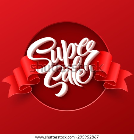 Super Sale lettering with sale labels. EPS 10 - Shutterstock ID 295952867