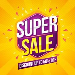 Super Sale modern Banner design template on yellow background