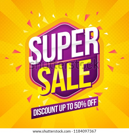 Super Sale modern Banner design template on yellow background