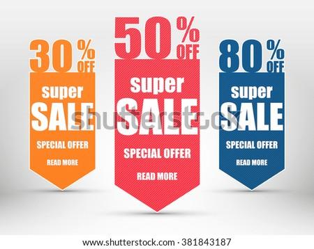 Super Sale paper banner. Special offer.  Vector illustration