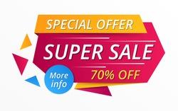 Super sale red banner, special offer, 70% off, vector eps10 illustration