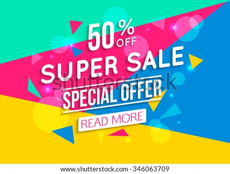 Super Sale shining banner on colorful background. Vector illustration.