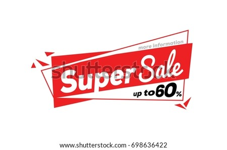 Super Sale,special offer banner, up to 60% off. Vector illustration.