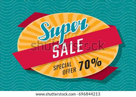 Super Sale Special Offer 70% Calligraphic Logo Lettering Shopping Creative Concept with Rays Oval and Wrapping Ribbon - Red and Yellow on Turquoise Grunge Wavy Background - Vector Flat Graphic Design