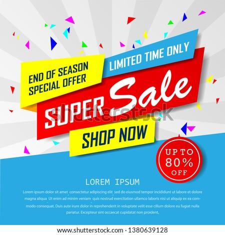 super sale special up to 80% off. big sale, end of season special offer banner.sale banner template design background. vector illustration typography banner design concept. Foto stock ©