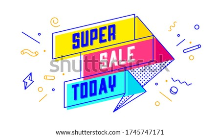Super Sale Today. 3d sale banner with text Super Sale Today for emotion, motivation. Modern 3d colorful web template on black backdrop. Design elements for sale, discount. Vector Illustration