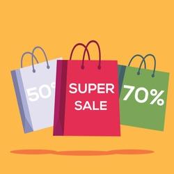 Super sale vector concept: shopping bags written