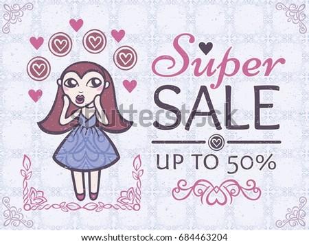 super sale vintage style vector