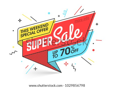 Super sale, weekend special offer banner template in flat trendy memphis geometric style, retro 80s - 90s paper style poster, placard, web banner designs, vector illustration