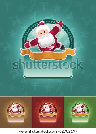 Super Santa Claus. Christmas banner set. All elements are layered separately in vector file. Easy editable CMYK color mode. - stock vector