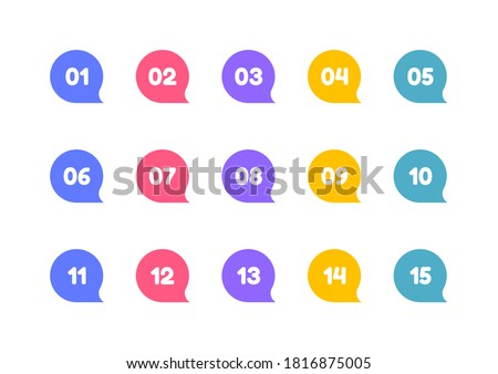 Super set bullet point on white background. Colorful markers with number from 1 to 15. Modern vector illustration. Stock foto ©
