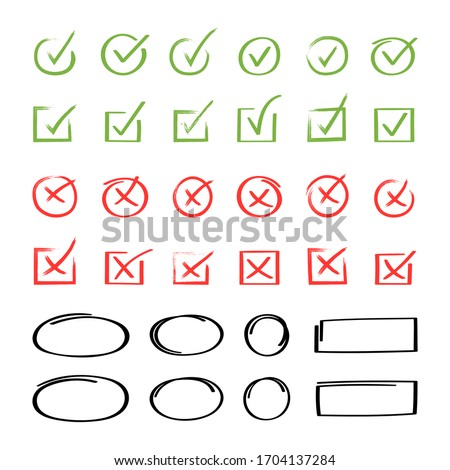 Super set hand drawn check mark with different circle arrows and underlines. Doodle v checklist marks icon set. Vector illustration. Photo stock ©