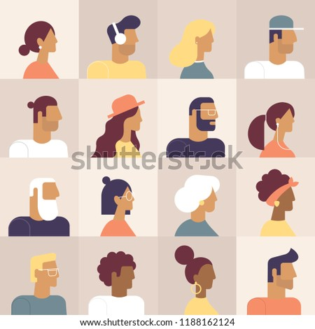 Super set of avatars in flat design style. Cool characters icons. Positive men and women people different age and nationalities. Stylish male and female faces and shoulders avatars