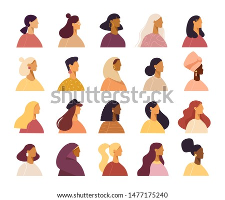 Super set of avatars in flat design style. Cool characters icons. Positive women different nationalities and hairstyle. Stylish female faces and shoulders avatars. Isolated on white background.