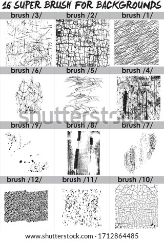 super  set of black brush . Paint, ink, grunge, brushes, lines. Dirty artistic design elements, boxes, frames. Freehand drawing. Vector illustration and brush Photoshop. Isolated on white background . stock photo