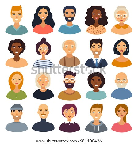 Super set of cartoon characters. Cool avatars icons. Flat design. Positive male and female people different ages and nationalities. Funny bright vector illustrations.Isolated on white. Funny emoji