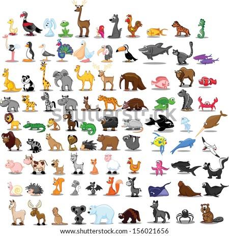 Super set of 90 cute cartoon animals
