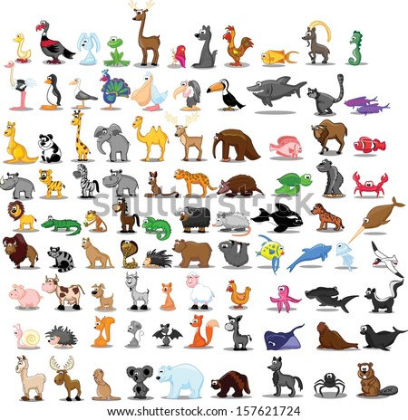 Super set of 91 cute cartoon animals