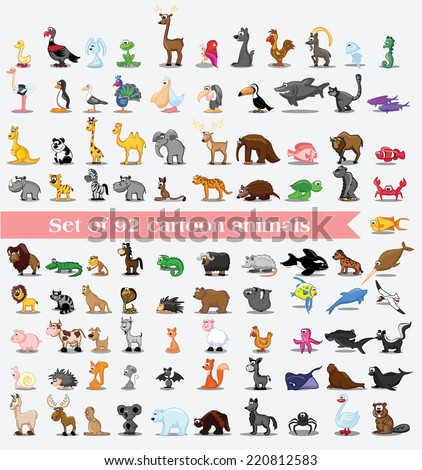 super set of 92 cute cartoon