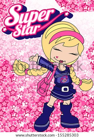 Super star girl.\ Illustrator swatch of repeat pattern included.