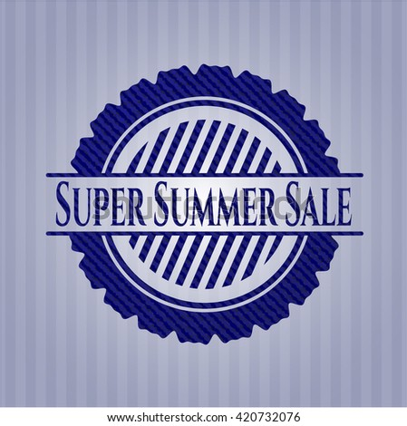 Super Summer Sale badge with denim texture