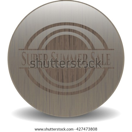 Super Summer Sale badge with wood background