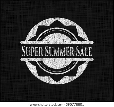 Super Summer Sale chalk emblem, retro style, chalk or chalkboard texture