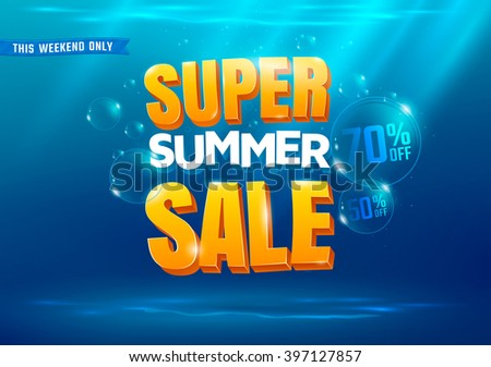 super summer sale poster with