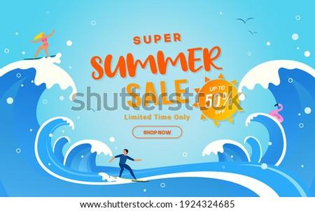 Super Summer Sale vector illustration. Summer Big wave surfing backgrounds