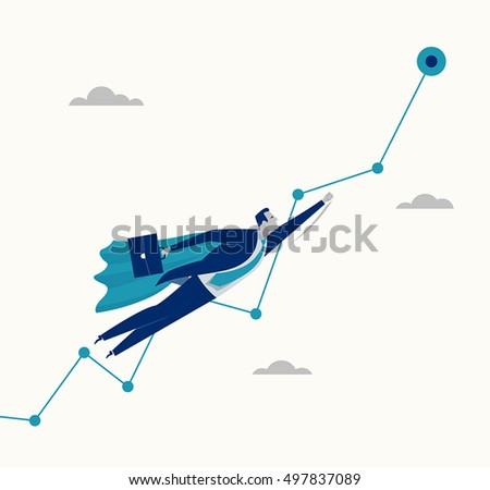 Super worker. Businessman flies to the goal in the mantle of the Superman. Business concept illustration