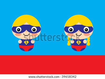 Stock Photo superboy and supergirl greeting