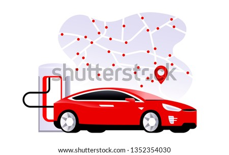 Supercharger  station with charging electric red car tesla. Map with locations of electric charging stations. Flat model s. EV future. Vector Illustration.