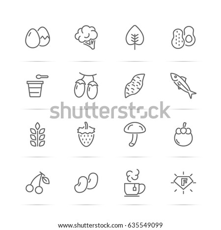superfood vector line icons