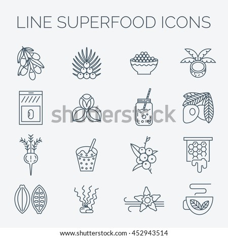 superfoods line vector icons