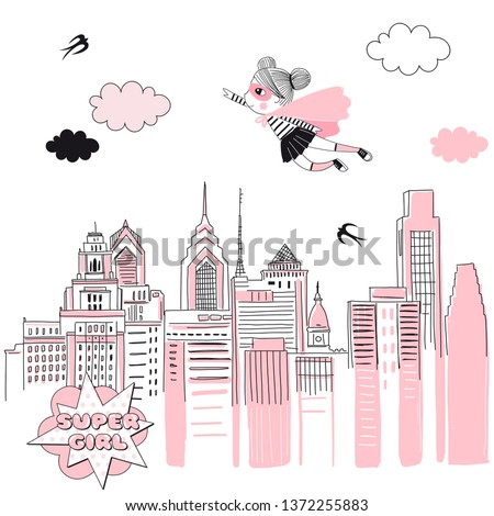 supergirl fly above cityscape