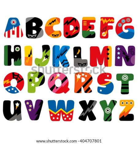 superhero alphabet vector