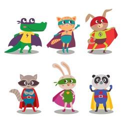 Superhero animal kids. Cartoon vector illustration. Little cat, dog, panda, raccoon, rabbit and crocodile in superheroes costume