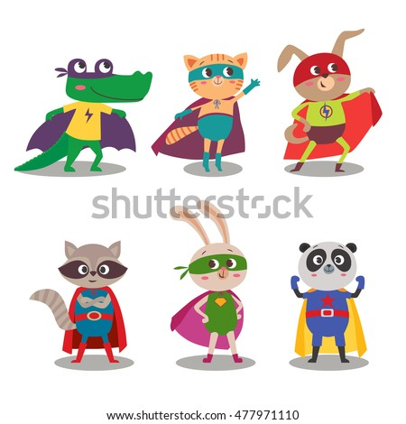 Superhero animal kids. Cartoon vector illustration. Little cat, dog, panda, raccoon, rabbit and crocodile in superheroes costume