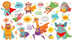 Superhero animals. Cute hero animals with capes and playful masks, brave funny animal comic speech bubbles, cartoon vector characters. Lion and monkey, bunny and bear, cat and giraffe, elephant